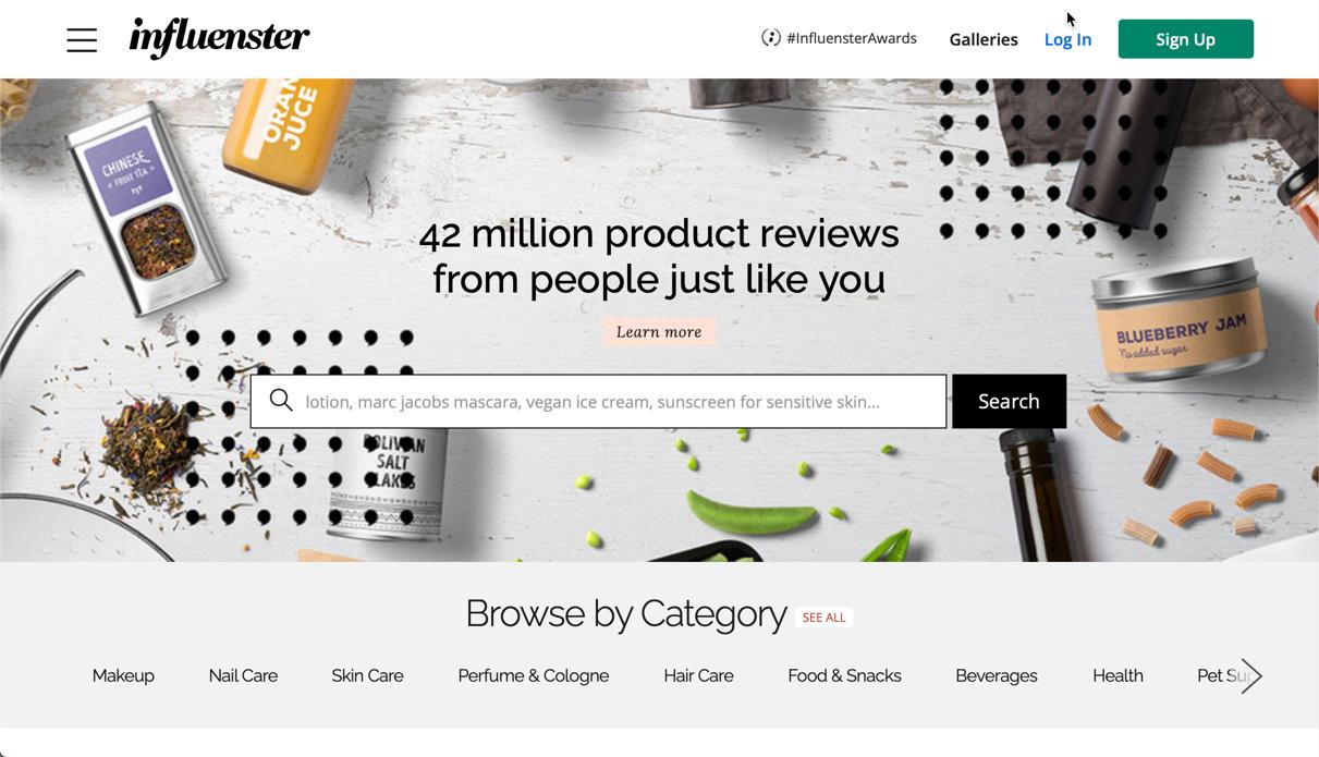 influenster influencer marketing homepage screenshot