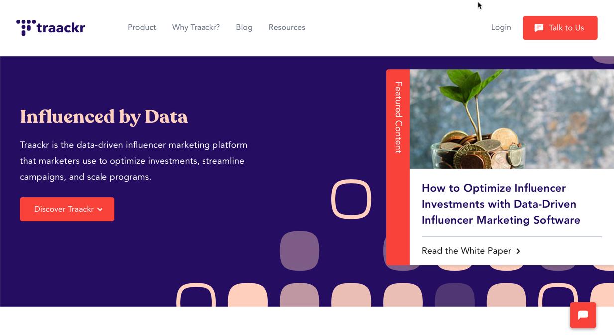 traackr homepage screenshot