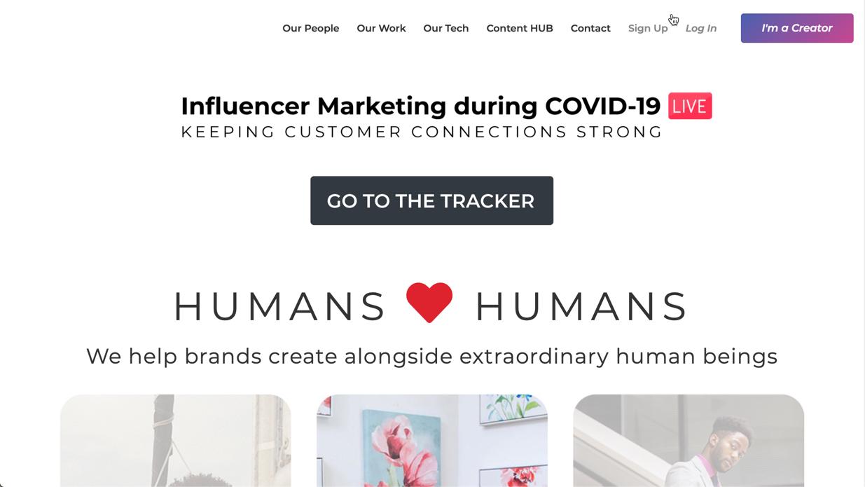 Open Influence homepage screenshot