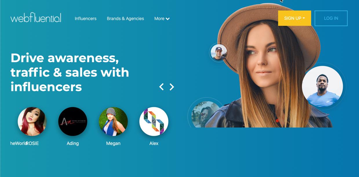screenshot of webfluential's homepage