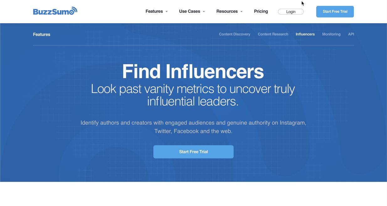 screenshot of Buzzsumo's influencer marketing platform