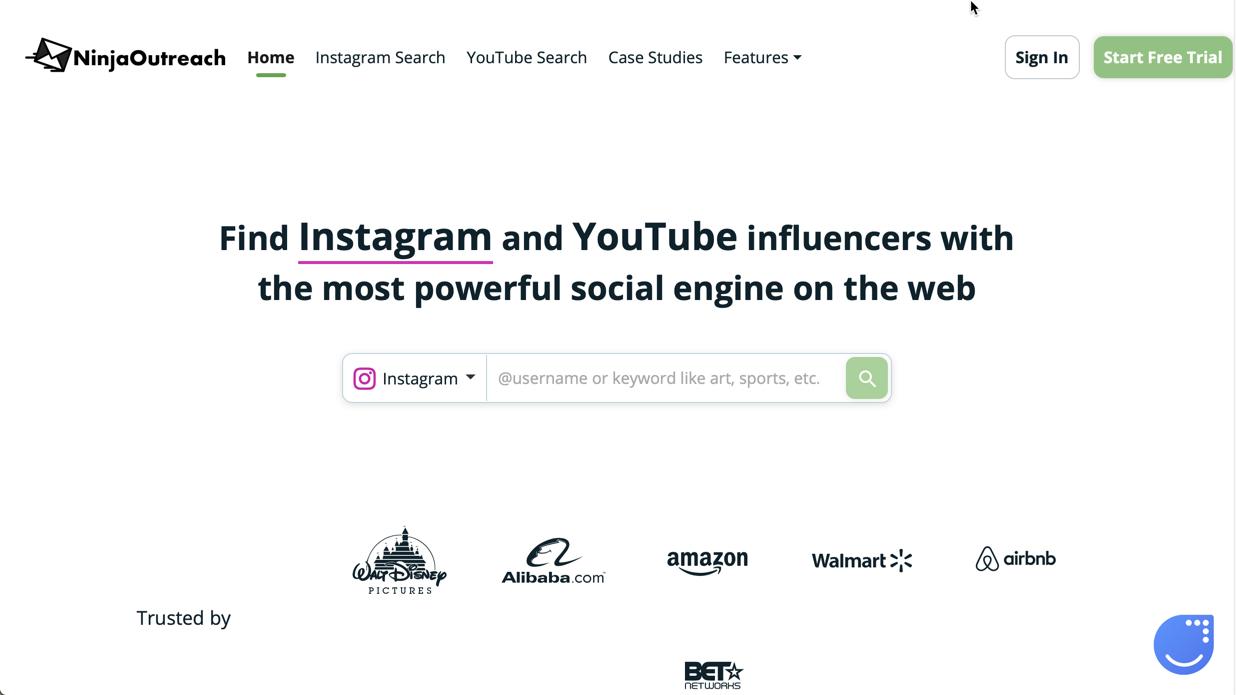 screenshot of NinjaOutreach's homepage