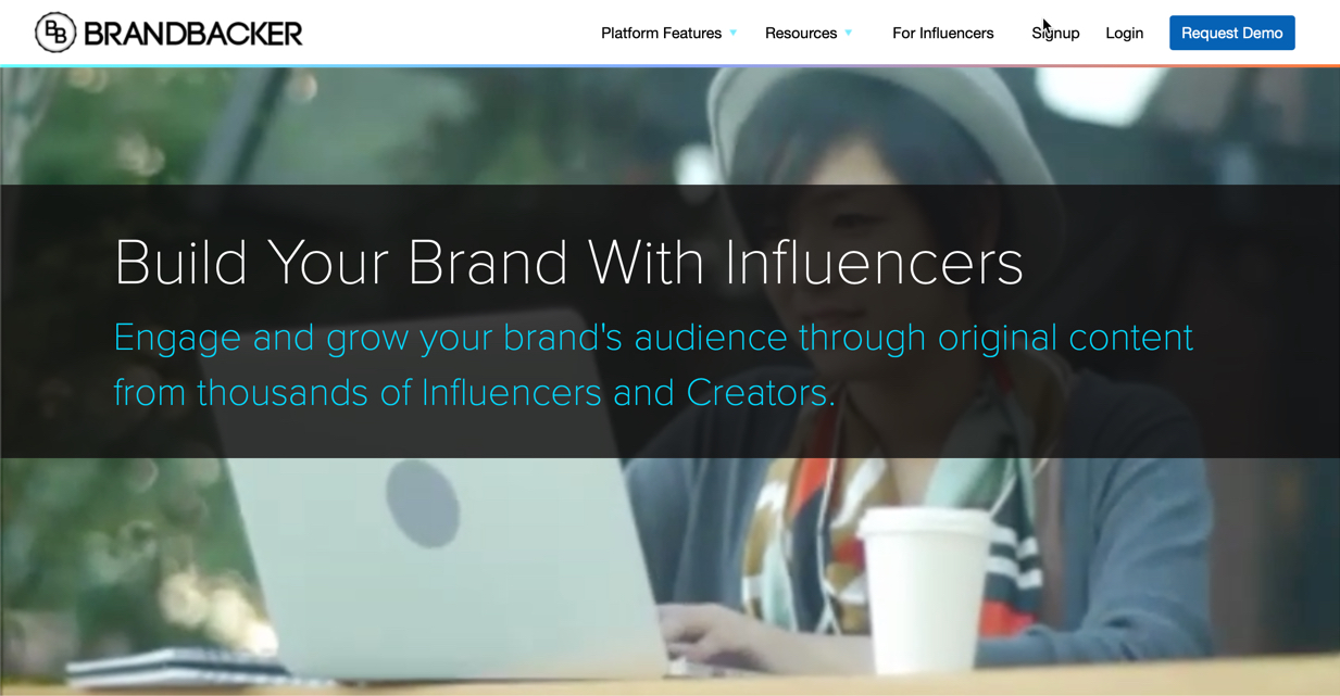 screenshot of BrandBacker's homepage