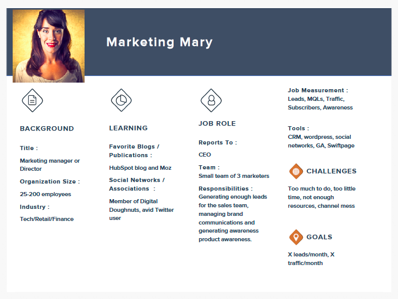 Marketing Mary Persona Example